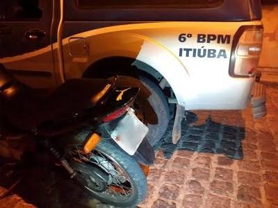 POLÍCIA MILITAR FRUSTRA ROUBO DE MOTO EM ITIÚBA