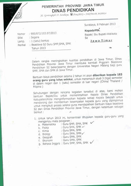 Beasiswa Pendidikan Jawa Timur 2013