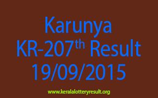 Karunya KR 207 Lottery Result 19-9-2015