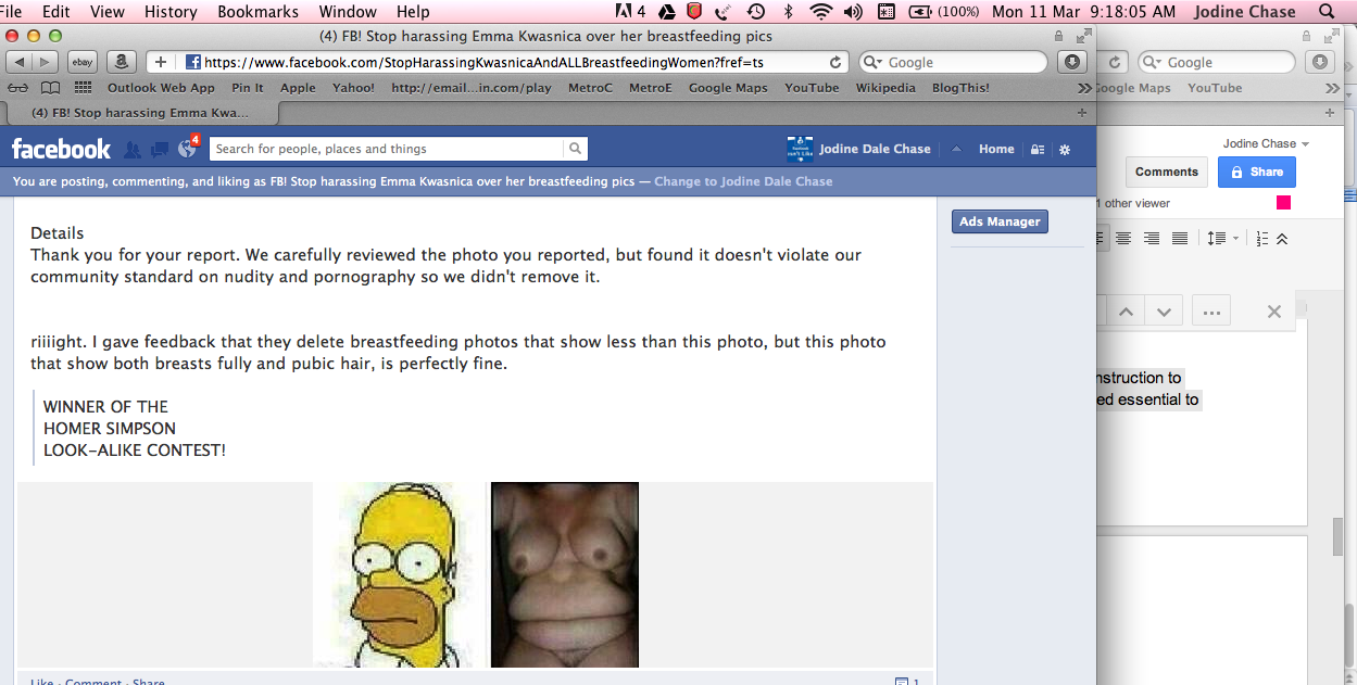 the report we received where facebook says the homer nude torso image is within their community guidelines