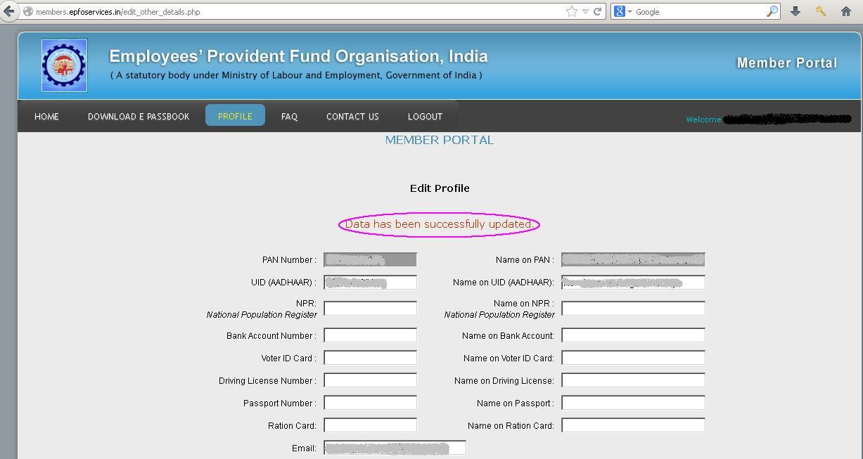 provident fund passbook