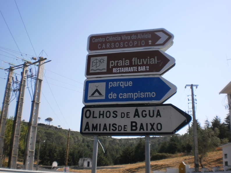 Placas para indicar a direcção da Praia fluvial