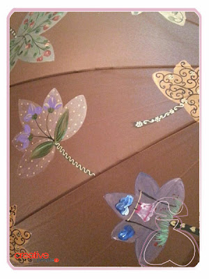 Detalle paraguas pintado a mano por Sylvia Lopez Morant, modelo Hojas.