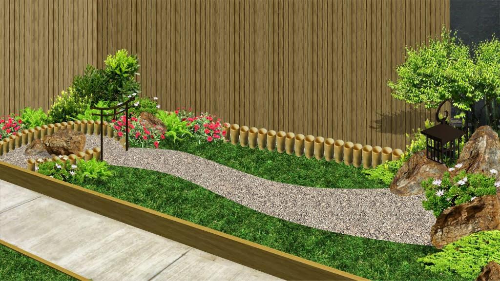jardín patio fachada estilo chino con mampara bambu