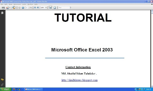 ms excel 2003 tutorial pdf