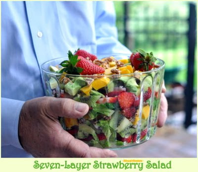 Seven-Layer Strawberry Salad with Poppy Seed Dressing ~ AVeggieVenture.com