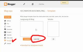 Masuk ke HTML pada Blogger.com