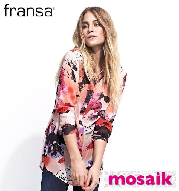 Vårnyheter från Fransa mönstrad skjorta i aprikosa och rosa toner på Mosaik i Luleå