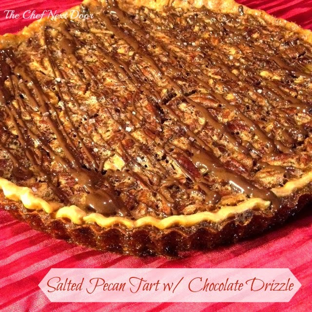 Salted Pecan Tart with Chocolate Drizzle