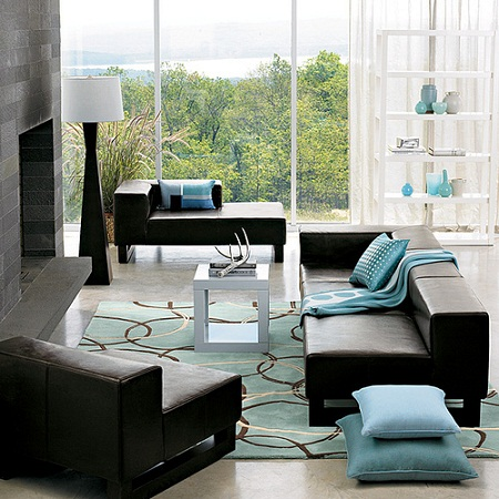 Perfect Blue And Brown Living Room Decorating Ideas With Black Sofa Part 21