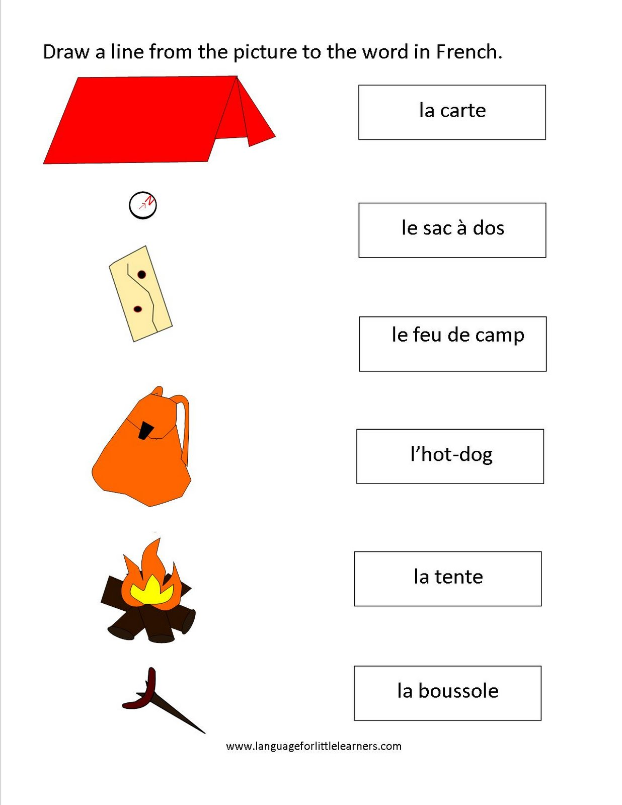 Here s a nice little french camping words worksheet to help your