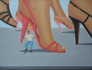 A shrunken man running in between the giant high heels on giantess women