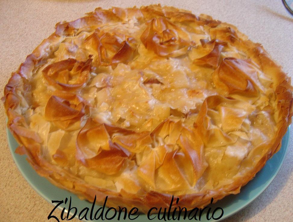 torta con gorgonzola, patate e fillo