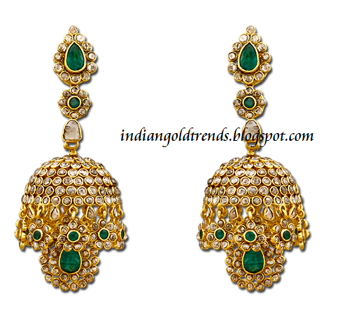 Check out elegant uncut diamond jhumka earrings design studded with