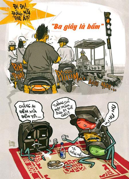 tranh vẽ biếm họa giao thông hiện nay