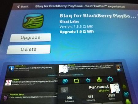 El popular cliente de Twitter para Blaq el BlackBerry PlayBook ha sido actualizado a la versión 1.6. Esta versión incluye algunas características nuevas, así como correcciones de errores. Blaq ha sido el mejor cliente de Twitter desde hace bastante tiempo, así que si usted no lo ha comprobado no debe dejarlo pasar. Las actualizaciones incluyen:Mayor estabilidad en el manejo del streaming en tiempo real.La aplicación ahora permite leer las búsquedas guardadas.Ahora en las opciones se soportan los siguientes servicios: Img.ly, Yfrog, Soporte de Imagen de Twitter, El puntaje Klout en la tarjeta de twitter (configurable), etc. En la ventana principal