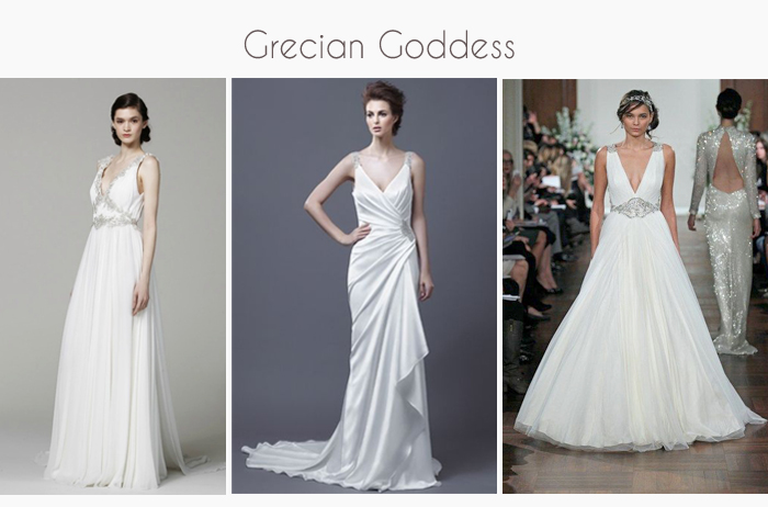 draped grecian wedding gowns