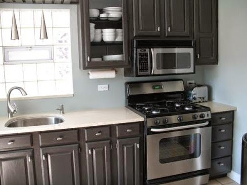 Gray kitchen dark cabinets for Dark gray kitchen cabinets