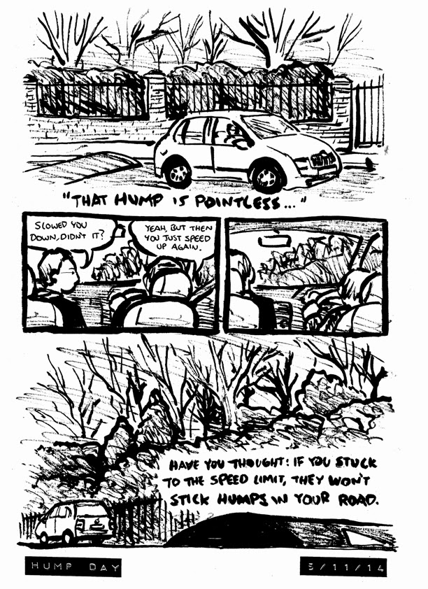 a comic argument about driving over road humps and debating speeding