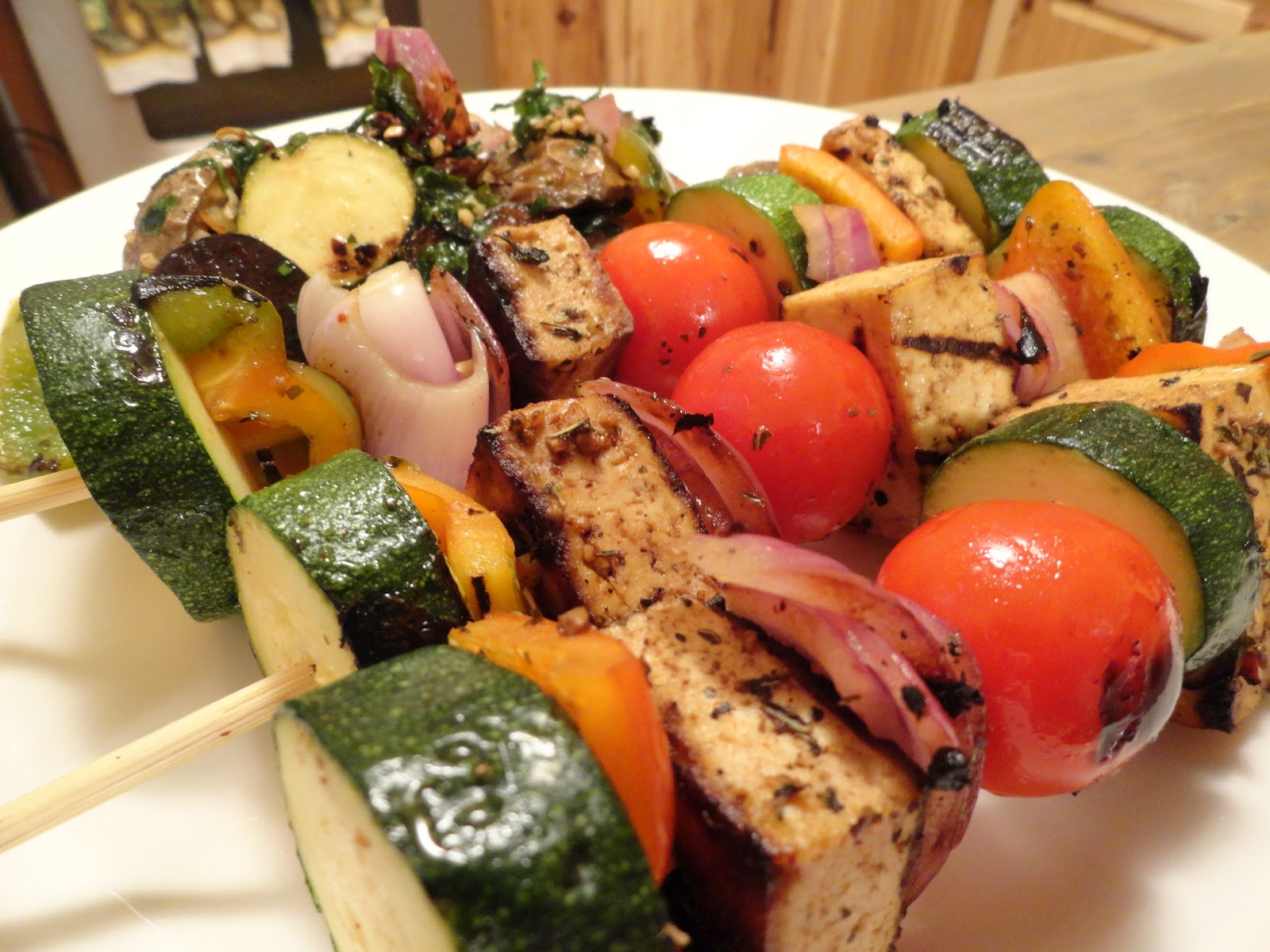 "Spicy Balsamic Tofu Veggie Kabobs | The ""V"" Word"