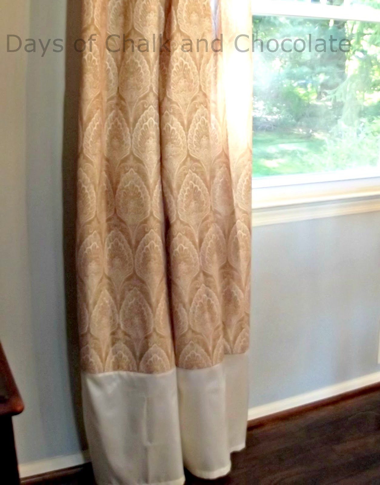 Days of Chalk and Chocolate: Making Drapes from Shower Curtains