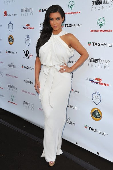 kim kardashian white halter evening dress