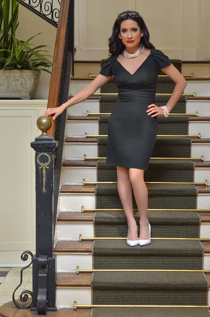 Rachel Zoe Black Cocktail Dress, Gianvito Rossi White Heels, Art Deco, Gucci Sunglasses, Eclectique Boutique pearl necklace and bracelet, fine jewelry