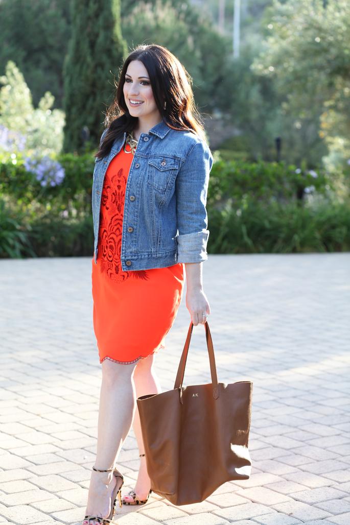 gap-denim-jacket-le-tote-orange-dress-steve-madden-leopard-stecy-sandals-cuyana-tote-king-and-kind-blog-spring-summer-outfit-ideas