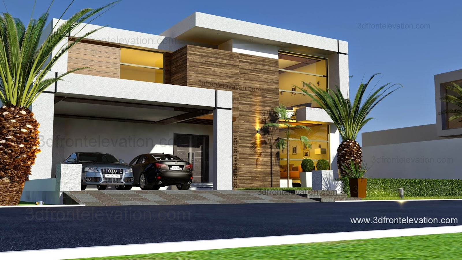 3d front beautiful contemporary house for Beautiful modern homes photos