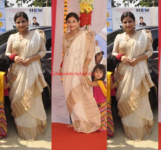 Vidya Balan in Bengali Drape Saree at Durga pandal