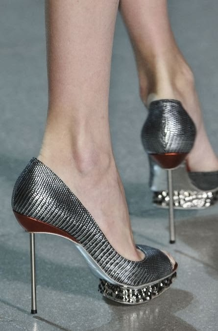 Grey party high heel shoes