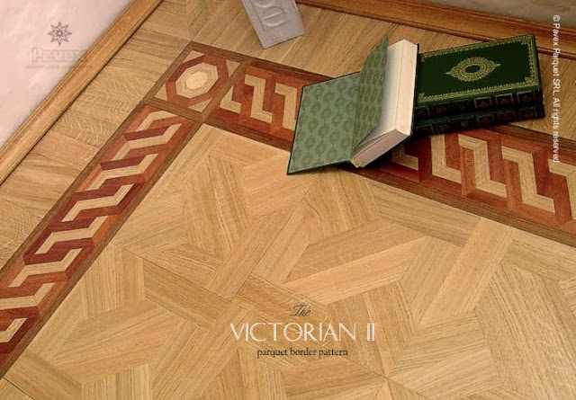 Hardwood floor border inlay pattern
