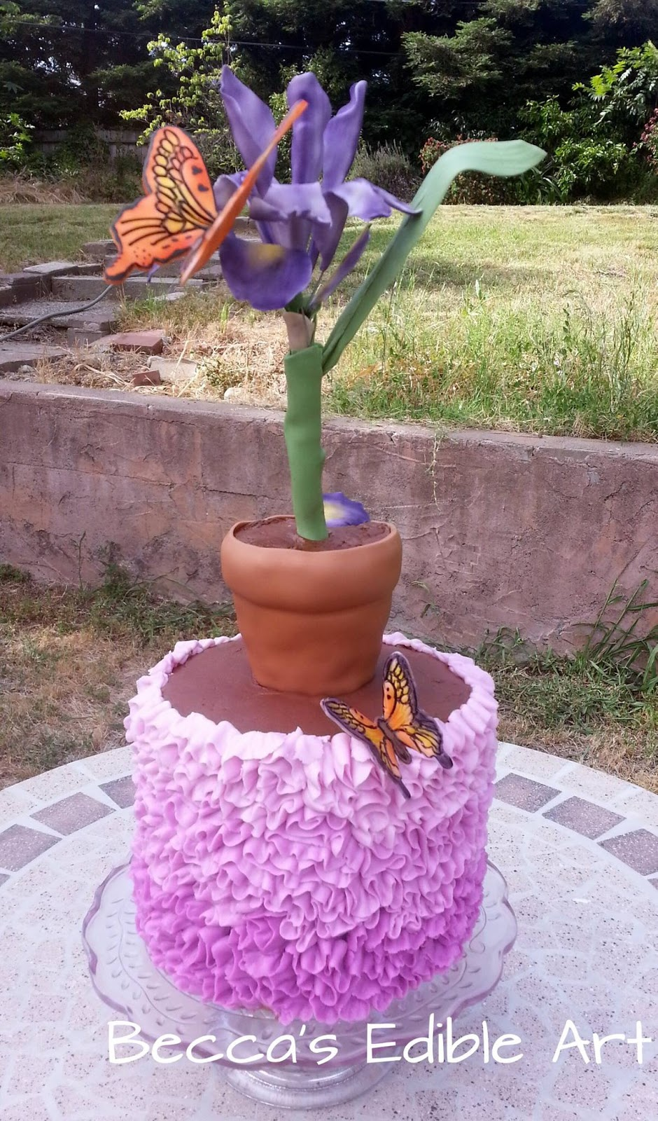 Becca's Edible Art Butterfly Flower edible Pot dirt cake