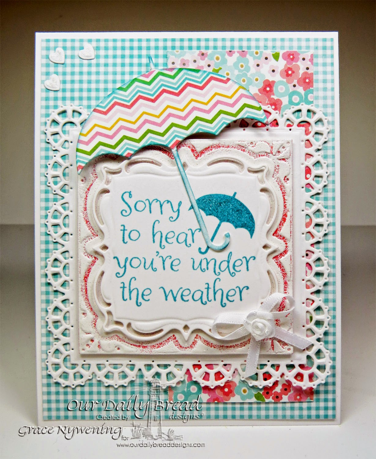 ODBD stamps: April Showers, Layered Lacey Squares Dies, Umbrella Die, Clouds and Raindrops dies, designed by Grace Nywening