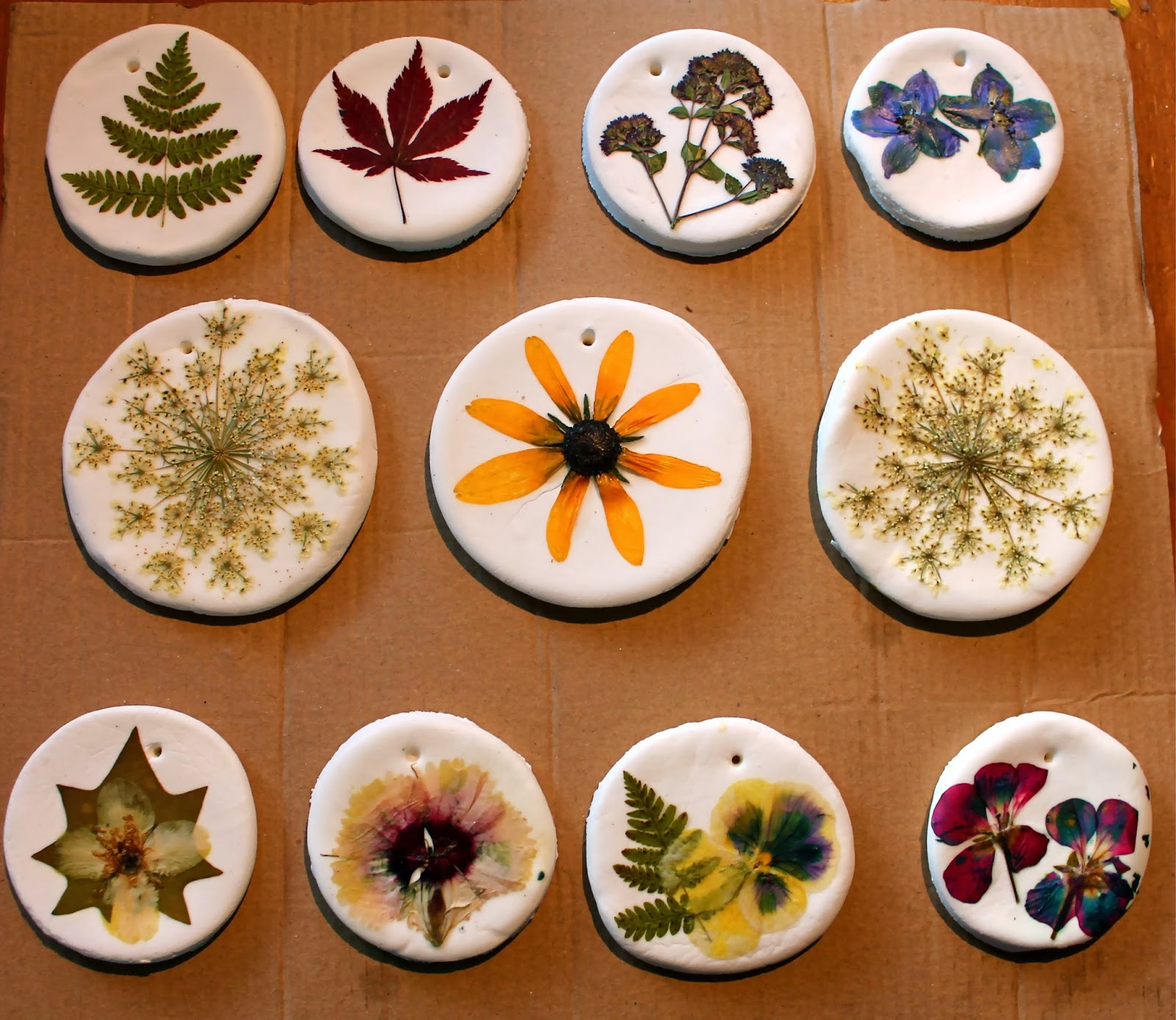 Twig and toadstool pressed flower ornaments for Ornament ideas