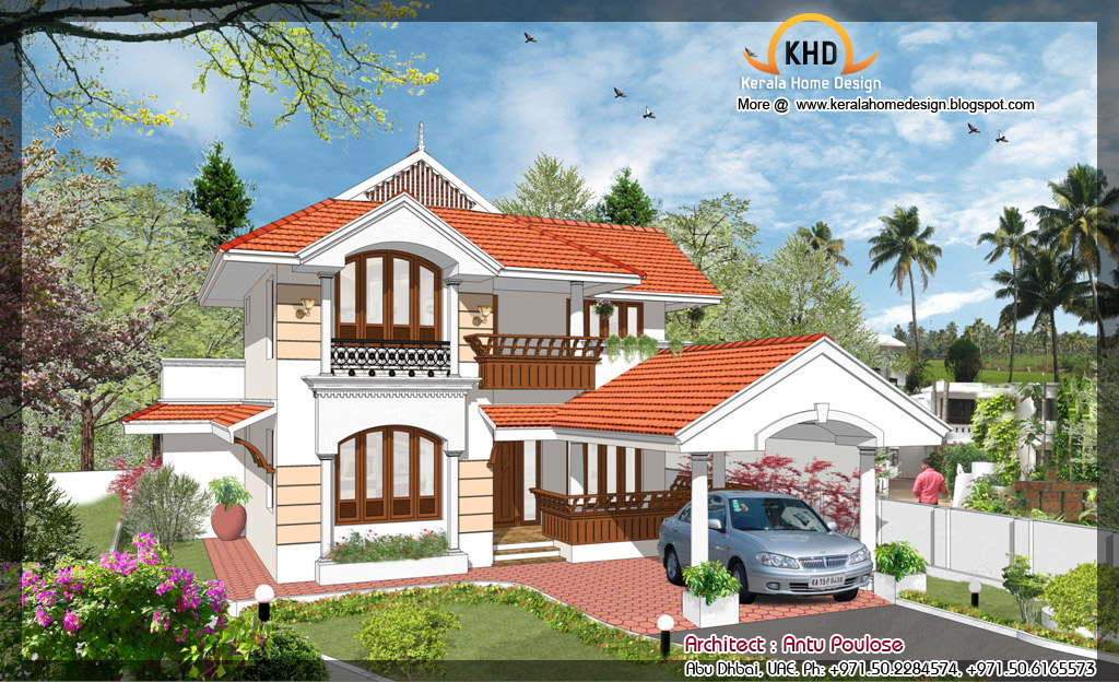 185 Square Meter (2000 Sq. Ft.) House Plan & Elevation
