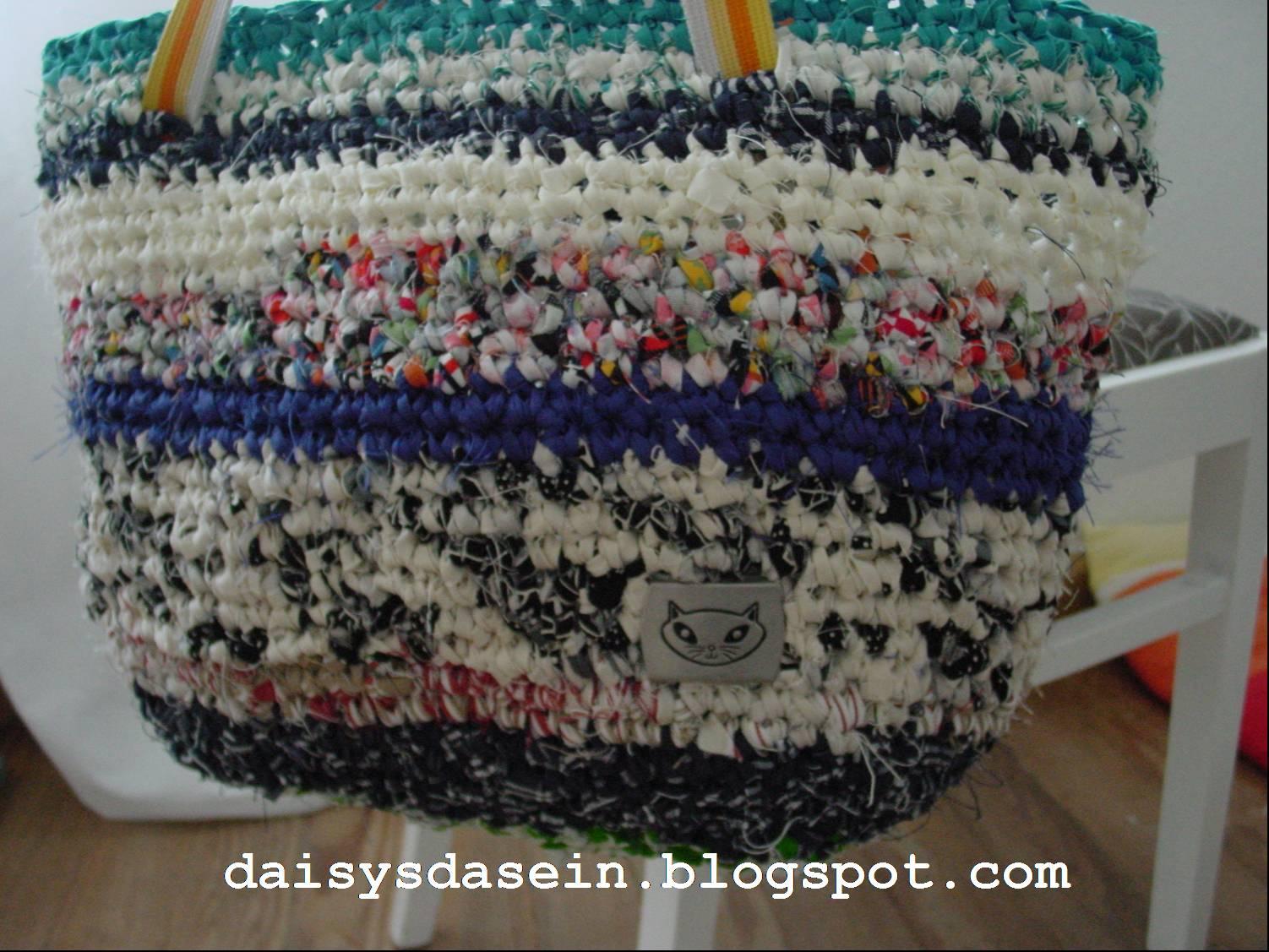 Daisys Dasein Wie Alles Begann Häkeltasche Aus Stoffstreifen