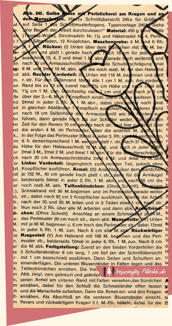 Strickjacke, Anleitung, kostenlos, 50er Jahre, historisch, Vintage, Frauenhilfe, Perlenmuster
