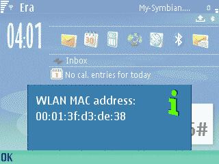 Symbian MAC adresa