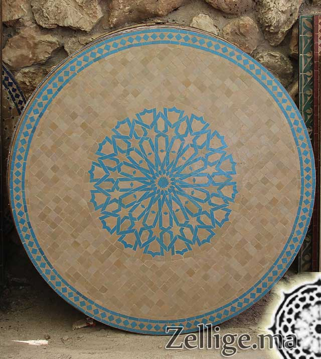 table zellige ronde zellige marocain carreaux zelliges moroccan zellij. Black Bedroom Furniture Sets. Home Design Ideas