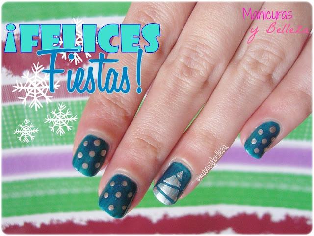 christmas nail art nails manicura navideña uñas navidad azul azules dots puntos nail tape manicure dotting tool blue silver plata plateado tree arbol de navidad