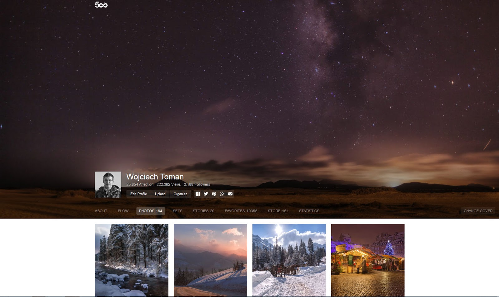 New profile page on 500px