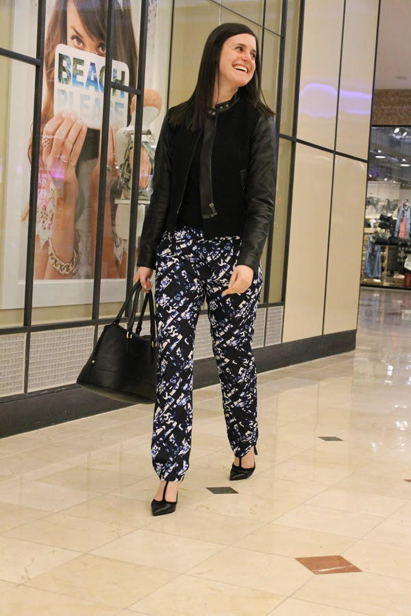 Printed pants, Target pants, Target printed pants, black bag, faux leather, t strap heels, black and blue pants, Gap, TJ Maxx, Target