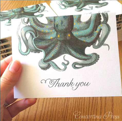 Cape Cod wedding blog photo from Concertina Press - Stationery and Invitations about Octopus Wedding Invitations – unique beach wedding invitations with aqua envelopes and matching thank you notes