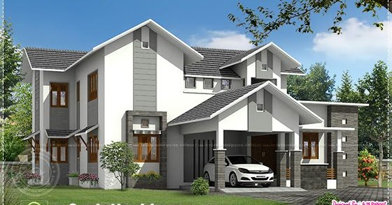 Modern Sloping Roof House In 260 Sq.M