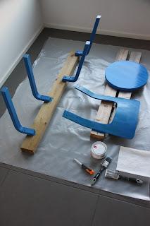 Artek Aalto Tuoli 66 maalattuna Tikkurilan L356 sinisellä.