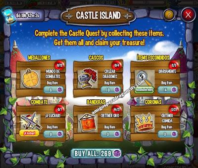imagen de las tareas de la isla del castillo de dragon city