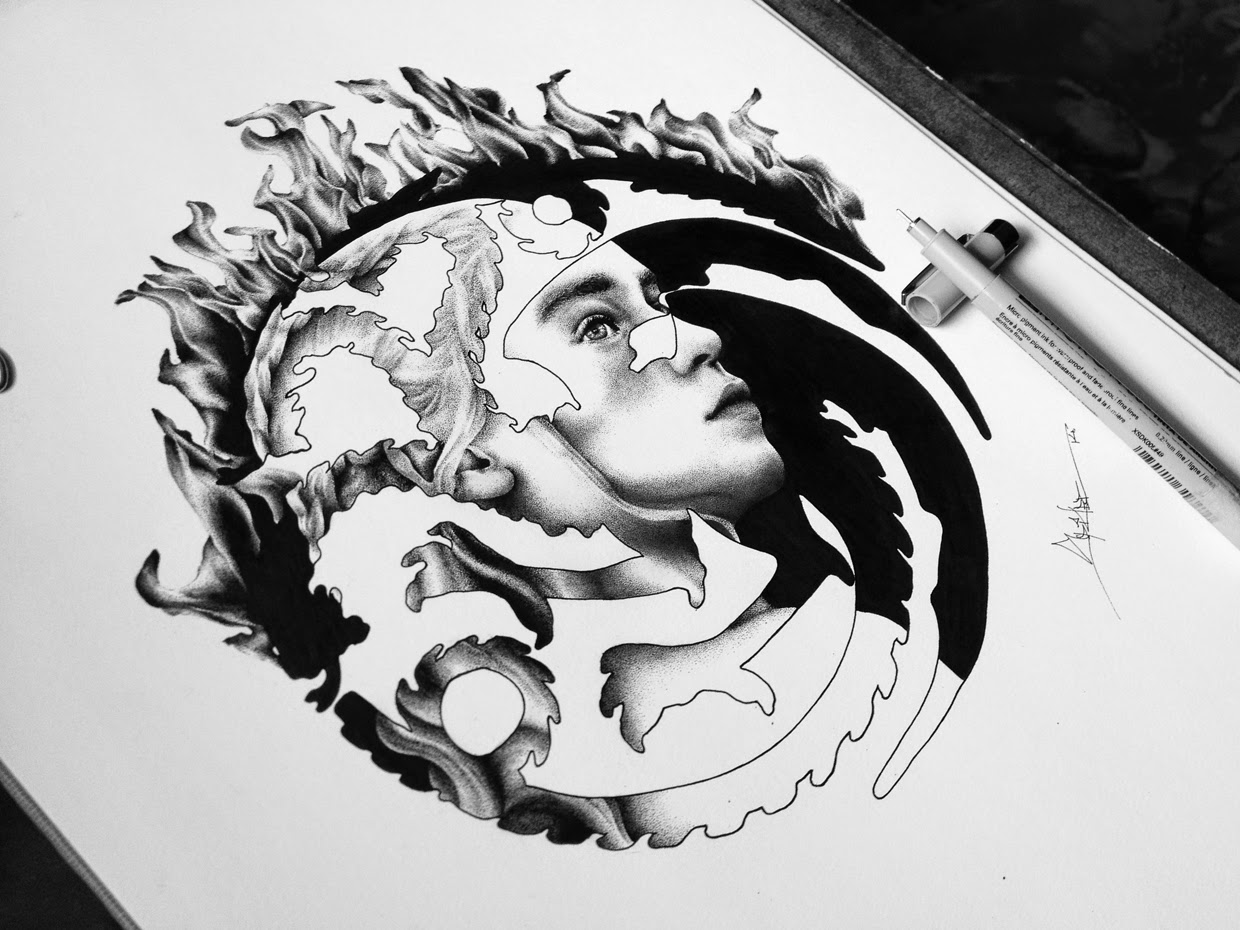 07-Daenerys-Targaryen-Spider-Money-Game-of-Thrones-Drawings-and-Detailed-Illustrations-www-designstack-co