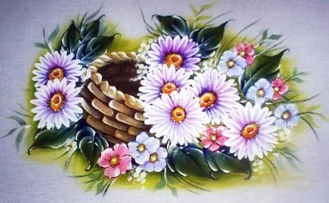 pintura em tecido pano de prato margaridas