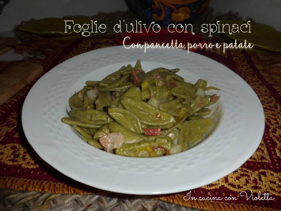 in cucina con violetta foglie d'ulivo con spinaci e pancetta, Disegni interni